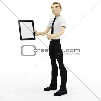 3D Businessman holding blank tablet pc