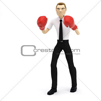 3D businessman with boxing gloves