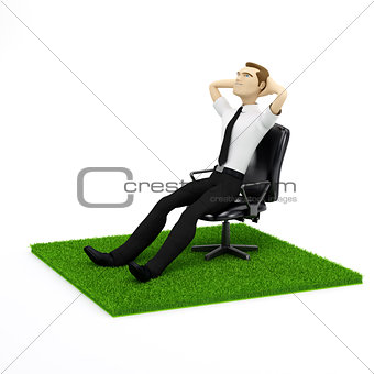 A conceptual image of a relaxing businessman on personal piece o