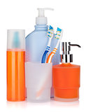 Cosmetics bottles, toothbrushes and liquid soap