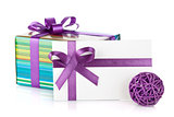 Colorful gift box and letter with ribbon and bow