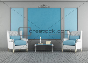 Blue and gray vintage interior