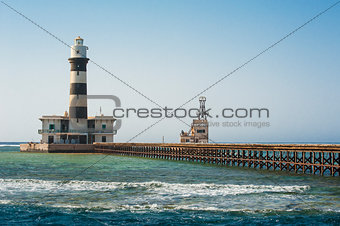 Old lighthouse on a tropical reef