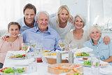 Extended family smiling at dinner family