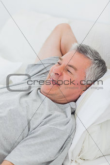 Cheerful man relaxing in bed