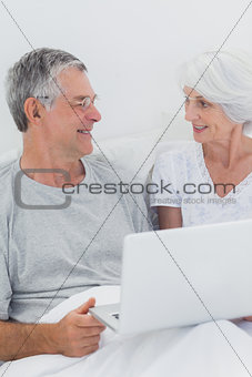 Cheerful mature couple using a laptop