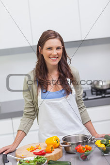 Attractive woman cooking vegetables