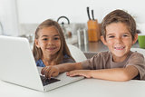 Cheerful siblings using a laptop together