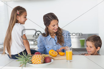 Attractive woman cutting an orange for her children