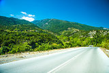 Road in mountain range at Olympos Mountains, Greece