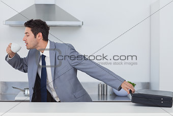 A late businessman taking his briefcase