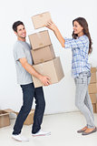 Woman giving boxes to her husband