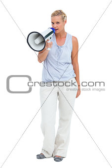 Blonde talking holding megaphone