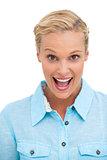 Happy attractive blonde looking at camera