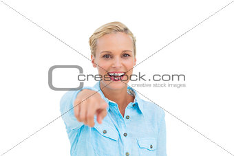 Blonde woman pointing