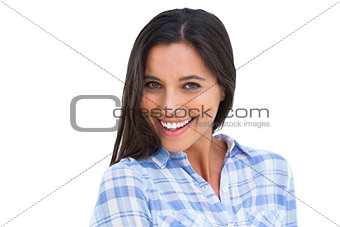 Young brunette smiling at camera