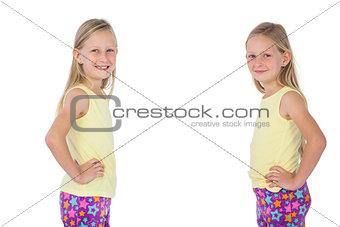 Blonde girls smiling at the camera