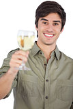 Smiling young man with wine glass