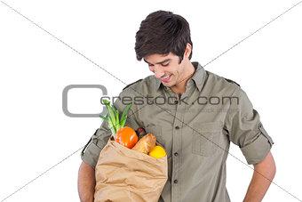 Man holding food bag