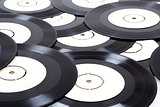 group of black vinyl records