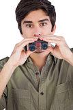 Man holding binoculars