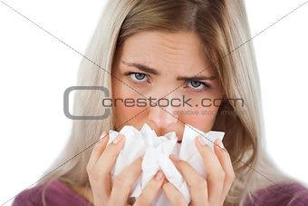 Portrait of a woman using handkerchief