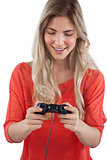 Woman holding video games joystick