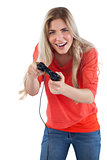Cheerful woman holding video games joystick