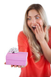 Surprised woman holding a present