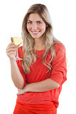 Woman holding white wine glass
