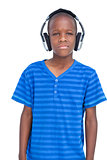 Little boy listening to music