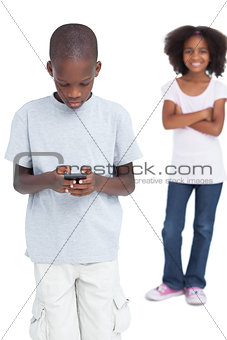Little boy using mobile phone