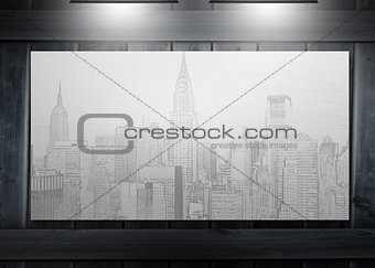 Poster representing a city hung on wooden board
