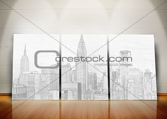 Three posters representing a big city standing in line