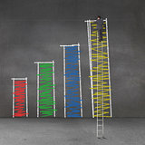 Businessman standing on a giant ladder and drawing bar chart