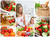 Collage of woman cutting vegetables with her daughter