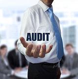 Elegant businessman holding the word audit