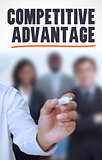 Businessman underlining the word competitive advantage