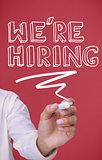 Businessman underlining we're hiring