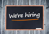 We're hiring written on blackboard