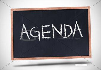 Agenda written on blackboard