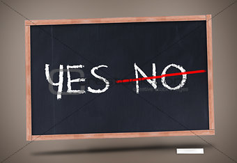 Yes and no written on blackboard