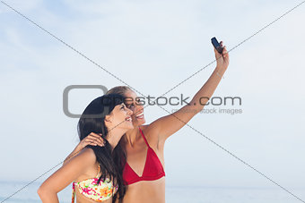 Women taking picture and smiling