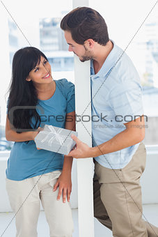 Man giving present to his girfriend