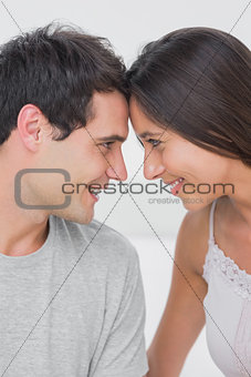 Beautiful couple facing each other