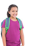 Little girl wearing book bag