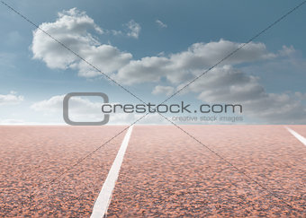Track with sky in background