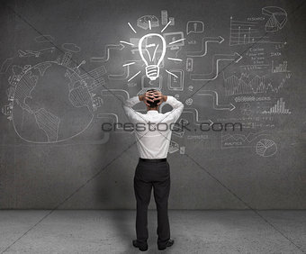 Anxious businessman looking at a light bulb