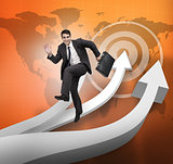 Businessman jumping over arrows and world map