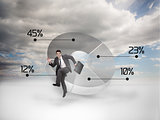 Businessman jumping next to a pie chart